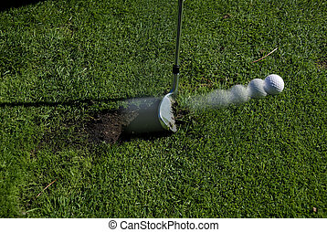 taco golfe, bater, bola, desligado, fairway