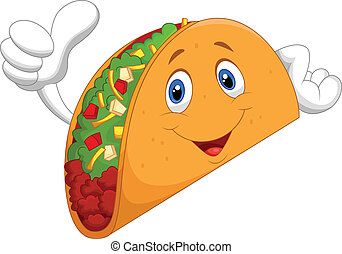 taco, haut, pouce, dessin animé, donner