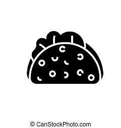 taco, ikona, vektor, ilustrace, čerň, firma, dále,...
