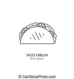 Stylized hot, freshly made mexican taco logo template, vector ...