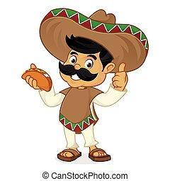taco, manger, dessin animé, homme, mexicain