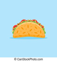Taco mexican fast food flat style icon.