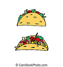 Taco - mexican traditional food. Fast food. Hand drawn sketch doodle. Vector color illustration for menu, poster, web and package design. Isolated on white background.
