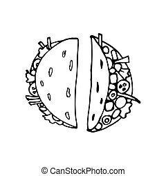 Taco - mexican traditional food. Fast food. Hand drawn sketch doodle. Vector transparent illustration for menu, poster, web and package design. Isolated on white background.