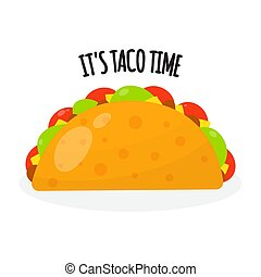 Taco mexican traditional food, vector illustration in flat style