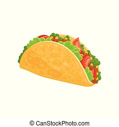 Taco Mexican traditional food vector Illustration on a white background