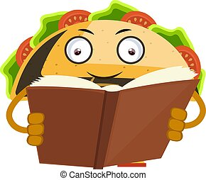 Taco reading book, illustration, vector on white background.