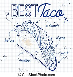 Taco recipe on a notebook page