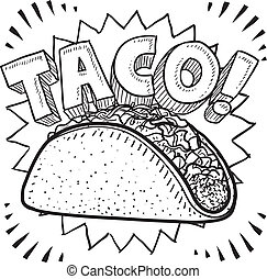 Taco sketch - Doodle style Mexican food taco sketch in...