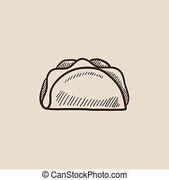 Taco sketch icon.
