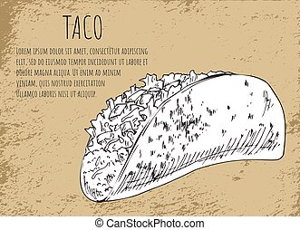 Taco Sketch on Mexican Fast Food Promo Banner