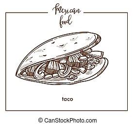 Taco sketch vector icon for Mexican cuisine food menu design