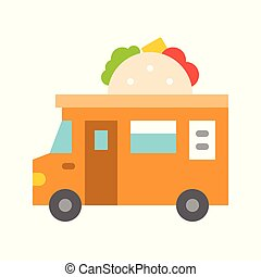 Taco truck vector, Food truck flat style icon