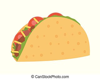 Taco vector illustration in flat style. Taco mexican food.