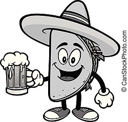 Taco with a Beer Illustation