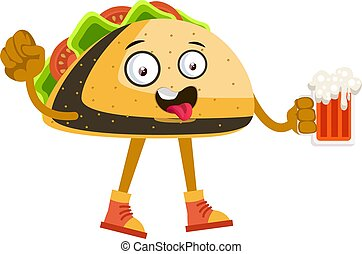 Taco with beer, illustration, vector on white background.