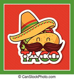 taco with mustache and hat cartoon menu poster