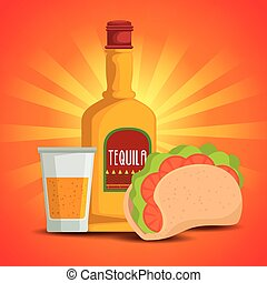 taco with tequila traditional mexican food