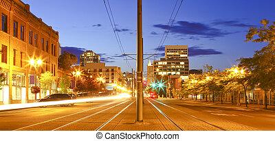 tacoma, śródmieście, w nocy, główna ulica, -, pacyfik, ave.