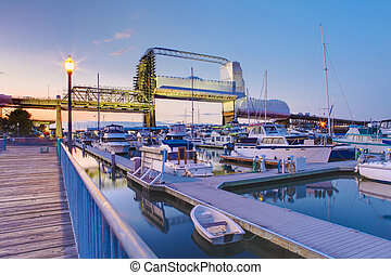 Tacoma downtown marina with bridge and pier, Washington State. Murray Morgan Bridge
