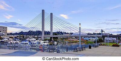 Tacoma downtown near port and Glass Museum, Washington State.