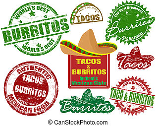 Tacos and burritos stamps - Set of grunge rubber stamps with...