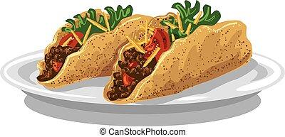 tacos, dále, deska