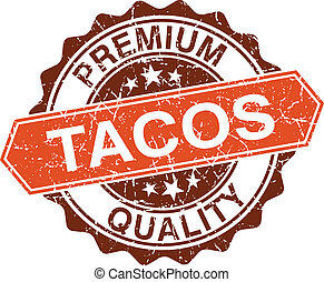 Tacos grungy stamp isolated on white background
