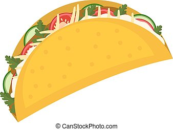 Tacos icon flat, cartoon style isolated on white background. Vector illustration, clip art. Traditional Mexican food.