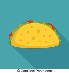 Tacos icon, flat style