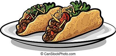 tacos, s, sekaná