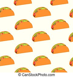 Tacos seamless pattern. Mexicano food.