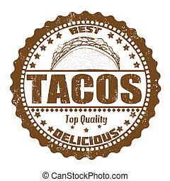 Tacos stamp - Tacos grunge rubber stamp on white, vector...