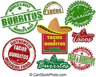 tacos, timbres, burritos