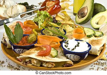 Tacos w pork meat, salsa and jalapenos