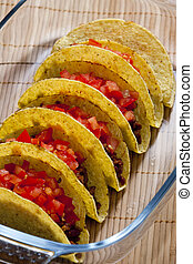 tacos with tomatoes and minced meat