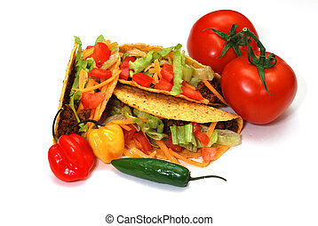 Tacos with tomatoes, habanero and serrano peppers. Isolated ...