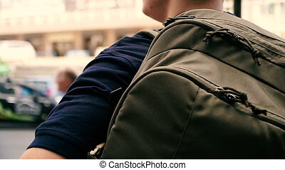 Tactical backpack for carrying cold steel.