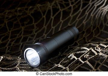 Tactical flashlight - Black flashlight that has a dark...