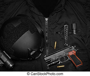 Tactical military gear upper view. - Photo of a tactical...