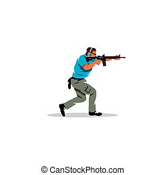 Tactical shooting sign. Vector Illustration.