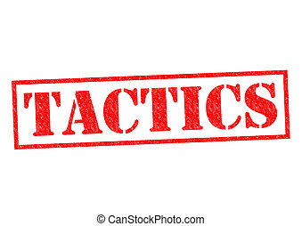 TACTICS red Rubber Stamp over a white background.