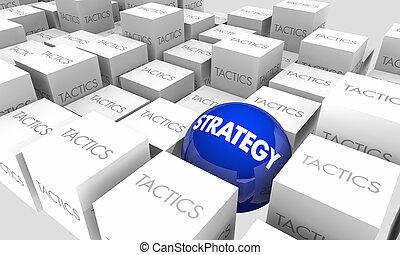tactique, objectifs, illustration, stratégie, vs, plan, buts, action, 3d