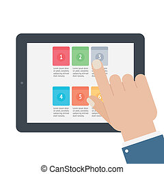 tacto, app, pantalla, tableta, dedo