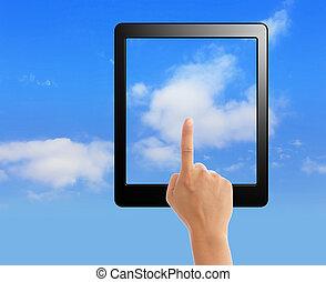 Tacto, concepto, almohadilla, nube, informática