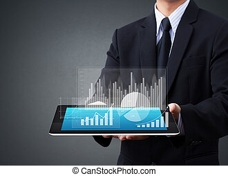 tacto, gráfico, pantalla, tableta