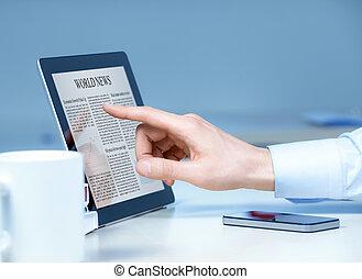 tacto, hombre de negocios, pantalla, dispositivo, utilizar