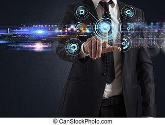 tacto, interfaz, pantalla, futurista