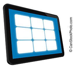 tacto, lcd, pantalla, tableta