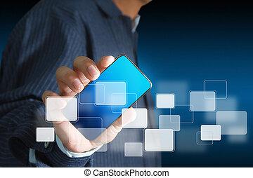 tacto, móvil, pantalla, teléfono